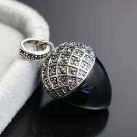 925 Sterling Silver with Black Pendant female anti allergy Vintage Silver Pendant