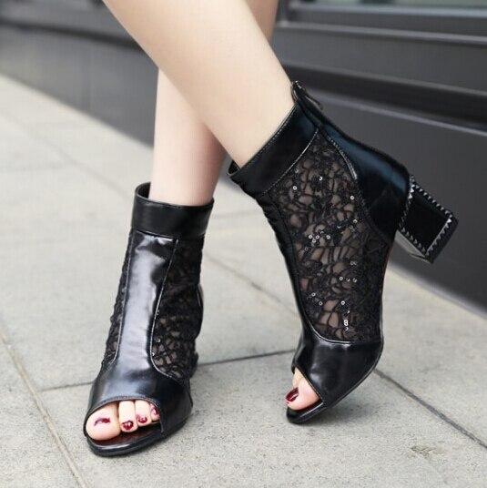 3c4acfba5b64a Nueva venta mujeres punta abierta malla tacones gruesos tobillo botas verano  moda sandalias botas frescas para mujeres Zapatos de tacones altos Zapatos  ...