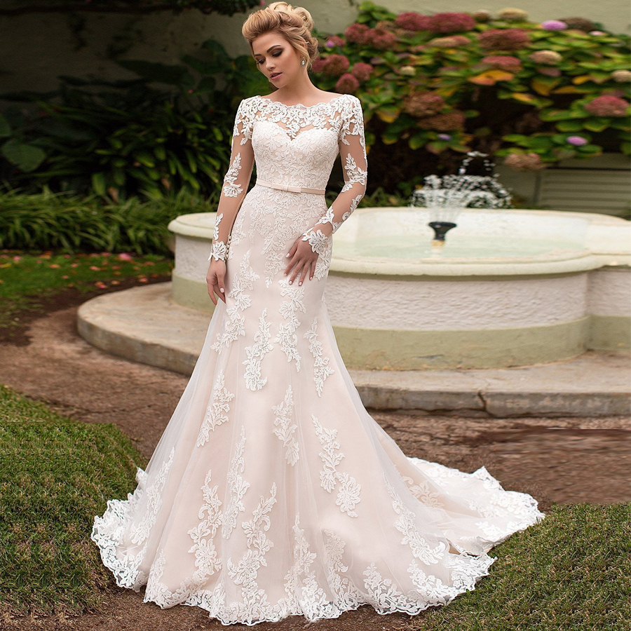 SOFUGE Elegant Long Sleeves Lace Wedding Dress Lace up back Scoop Neck Mermaid Bridal Gowns Vestidos