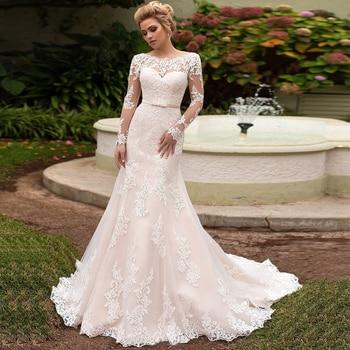 SOFUGE Elegant Long Sleeves Lace Wedding Dress Lace-up back Scoop Neck Mermaid Bridal Gowns Vestidos De Novia New Arrival