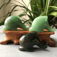 10pcs Wholesale natural quartz crystal hand carved animal green aventurine dolphins love gift