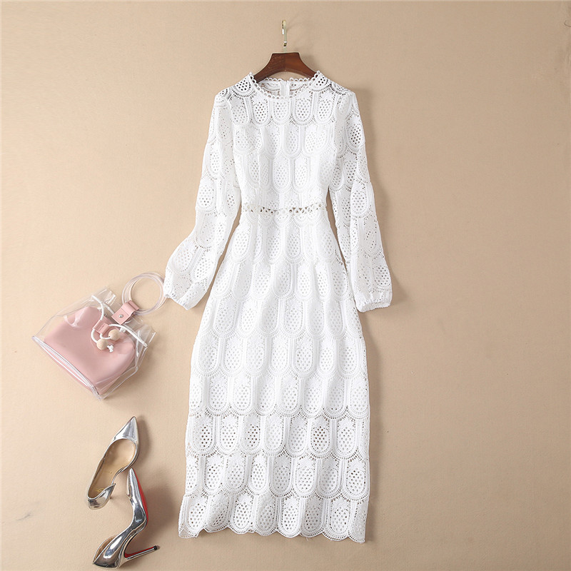 High Quality Designer Fashion Runway Dress Women Long Sleeve Spring Dress Elegant Hollow Out Embroidery White