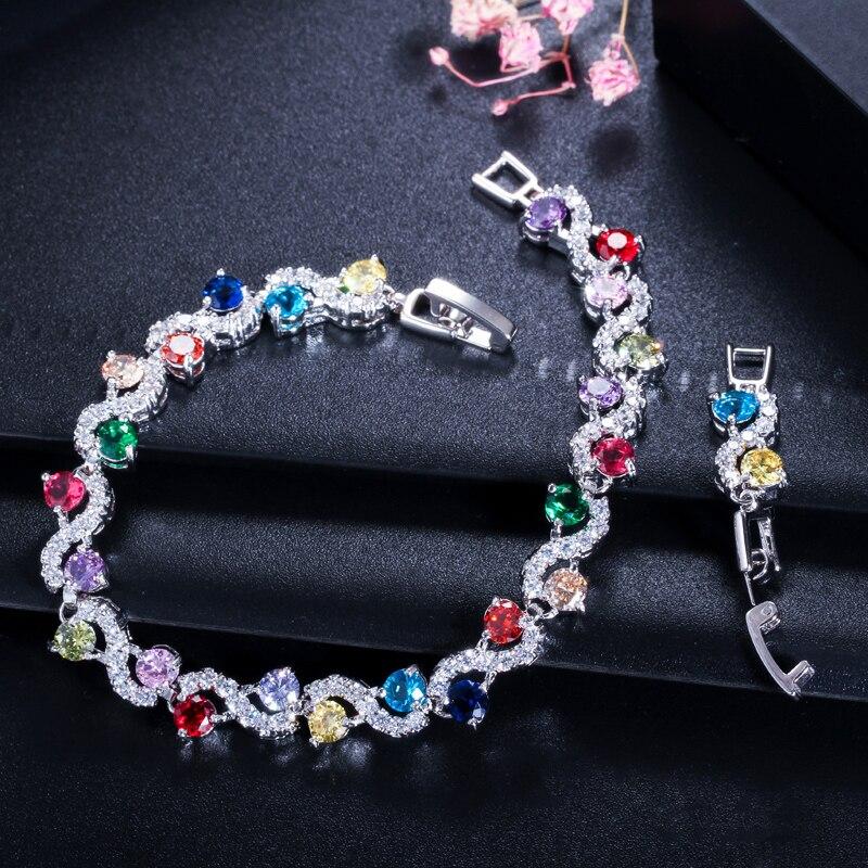 BeaQueen charmante donkerblauwe kristallen dames tennisarmbanden met - Mode-sieraden - Foto 4