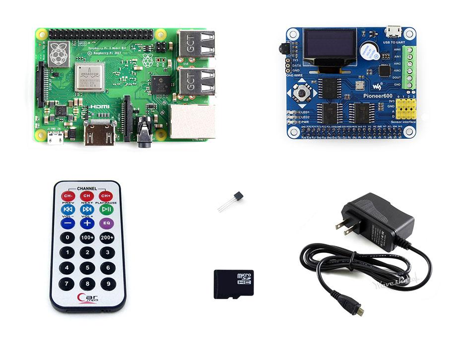 Raspberry Pi 3 Model B+ Development Kit, Expansion Board Pioneer600, 16GB Micro SD card, Accessories 2018 new original raspberry pi 3 model b development kit expansion board pioneer600 16gb micro sd card acc