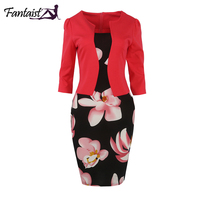 Fantaist Summer Dress Floral Print Pencil Bodycon Casual Office Business Wedding Party Plus Size Work Knee