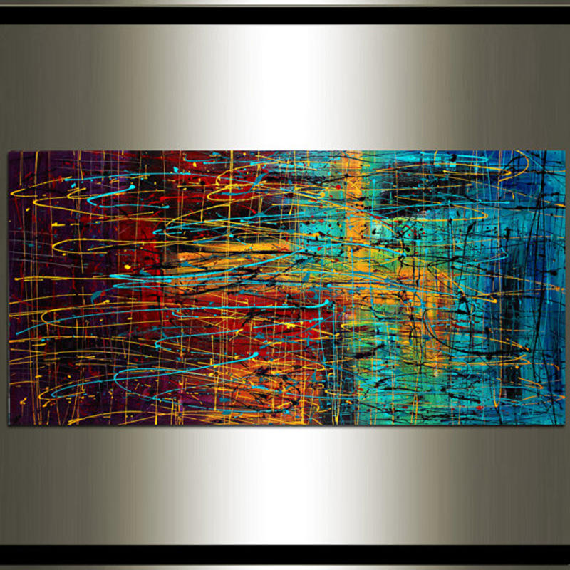 Hand Painted High Quality Wall Art Red Purple Teal Modern Abstract Oil Painting Canvas Home Decor Living Room Fine Artwork