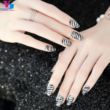 Sexy Black Strips Animal 100% Real Nail Polish Nail Art Stickers Wraps DIY Decorations Nails Patch Top Quality Leopard Nail Film