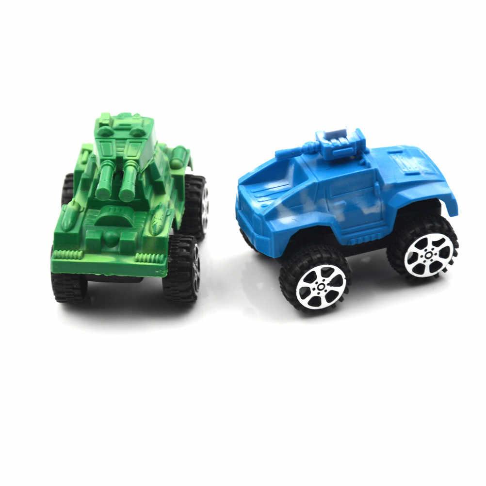 Klasik Mini Tank Model Mobil Mainan Anak Plastik Puzzle Tarik Kembali Kendaraan Diecasts Perang Militer Mobil Mainan untuk Bayi hadiah