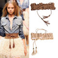 free shipping Lady Girl Hollow Fringed Tassel Elastic Cinch Corset Wide Waist Belt Waistband