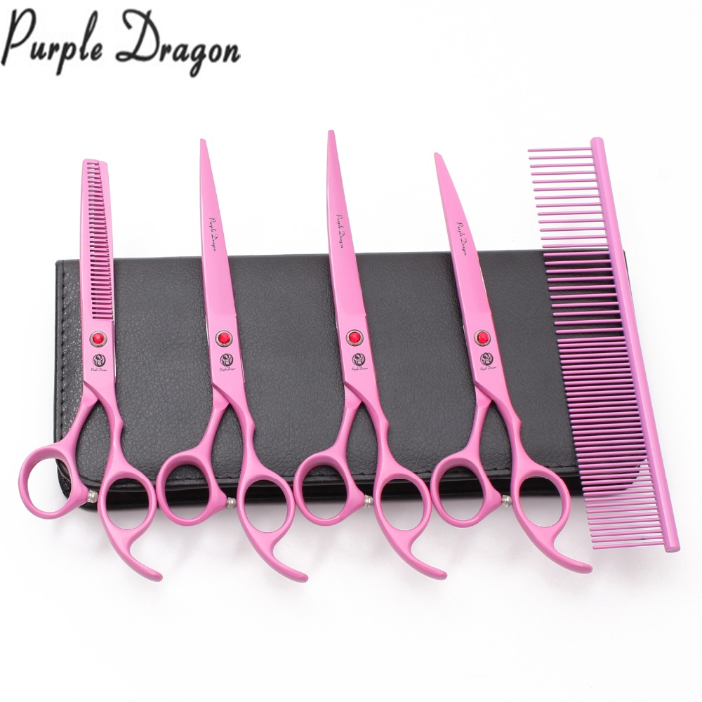 Suit 7 0 19 5cm Stainless Purple Dragon Animal Grooming Kit Straight Scissors Thinning Shears Curved