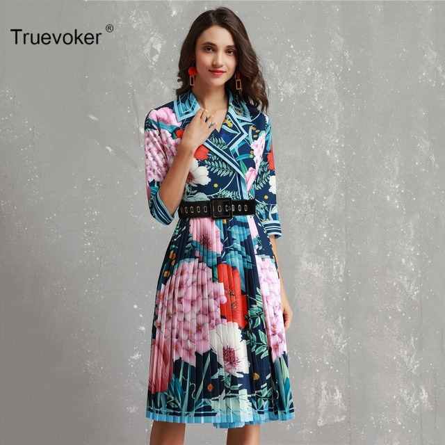 Truevoker Designer Trench Dress Women s High Quality 3 4 Sleeve Multicolor  Floral Printed Draped Belted ea7ead4d73ab