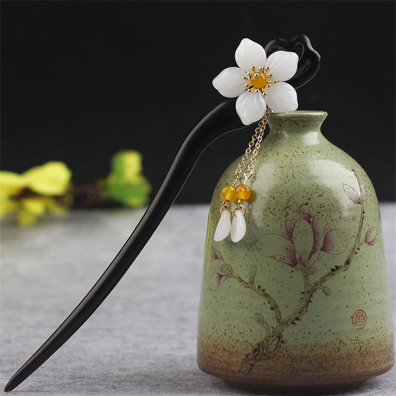 Top Handmade Vintage Wood Chinese Hair Stick Pins Headpiece For Women Flower Hairpins Hair Ornaments Head Jewelry Accessories jadite chinese painting ink hair stick original vintage handmade classical hanfu hair accessory hair stick antique copper stick