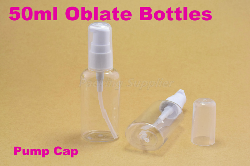 50ml Pump cap PET Oblate bottles comestic bottle make container small/empty #1353 - Packing Supplier(Bottles and Jars store)