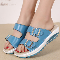 2017 Summer Shoes Thick Sole Platform Sandals Women Genuine Leather Metal Buckle Fashion Slippers Comfortable Flip
