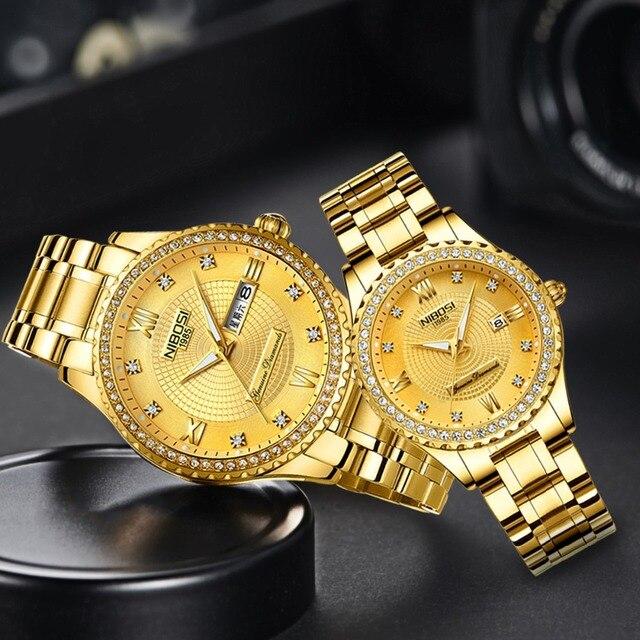 NIBOSI Feminino Severler Saatler Erkekler Kuvars Takvim Çelik Su Geçirmez sevgili saati Erkekler Bayanlar Elbise Erkek Saat Reloj Hombre Mujer