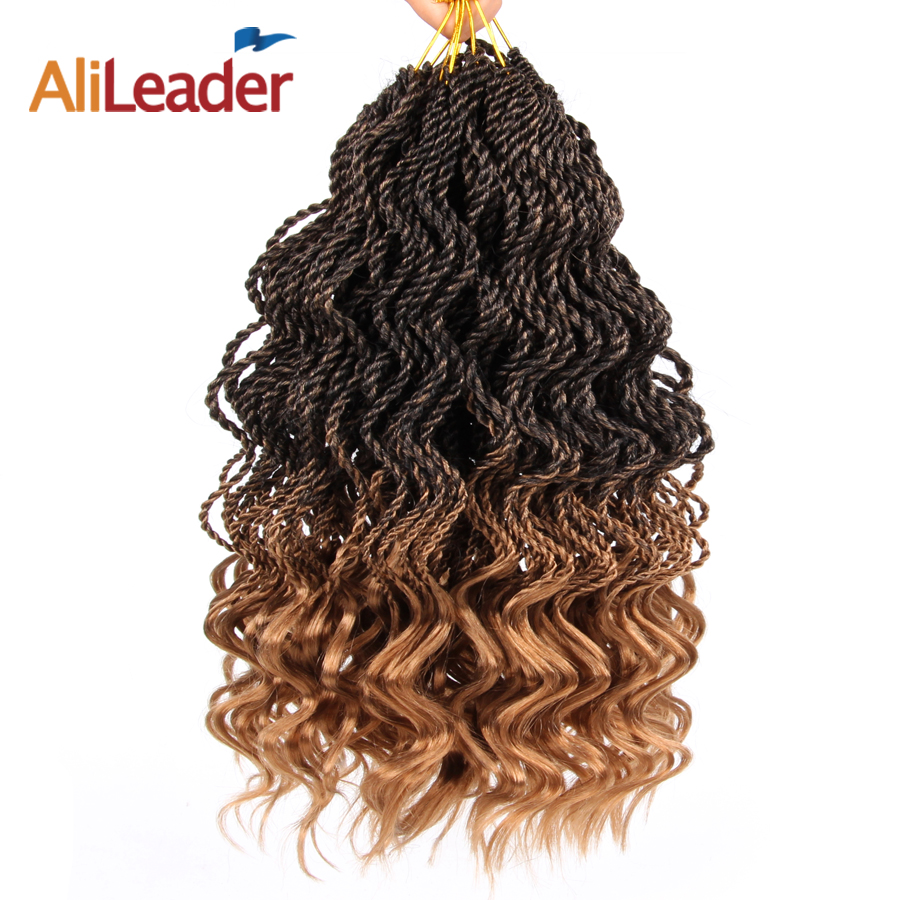 Alileader Synthetic Curly Hair Extensions Blue Ombre Weave Kanekalon Ombre Braiding Hair Crochet Braid Extensions African Braids
