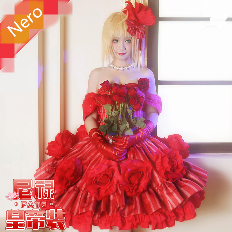 Game Fate extella Nero Red Emperor Clothes Cosplay Costume Women Sweet Lolita Dress Party Rose Dresses