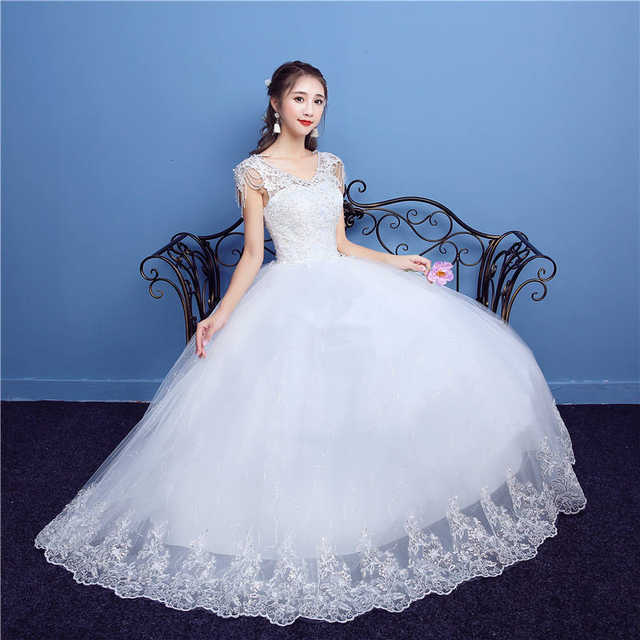523036a8a21 placeholder It s YiiYa Off White Sleeveless V-Neck New Wedding Gown  Embroidery Backless Plus Size Quality