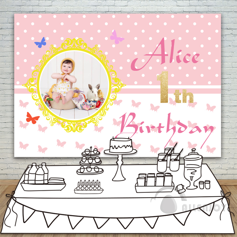 Allenjoy Girls Backdrop Baby Shower 1st Birthday Invitation celebration Party Pink Butterfly Table Banner photocall Background allenjoy backdrops baby shower background pink stripe rose gold circle birthday invitation celebration party customize