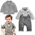 2 unids Niño Niños Que Arropan el sistema Bebés Señores Bowknot Jadea la Camiseta + Outfit Niños Ropa de Moda