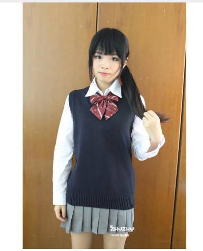 Cosplay K On Sleeveless Sweater Vest Uniforms V Neck Japanese High School Uniform -2404