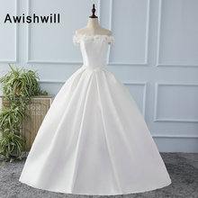 Vestido De Novia Off The Shoulder Boat Neck Vintage Wedding Dresses Satin Appliques Ball Gown Bridal Gown Robe de mariage