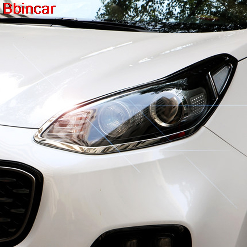 Bbincar ABS Chrome Front Rear Head Light Lamp Cover Trim Headlight Surround Frame Bezel Molding Both For Kia Sportage 2017 2018