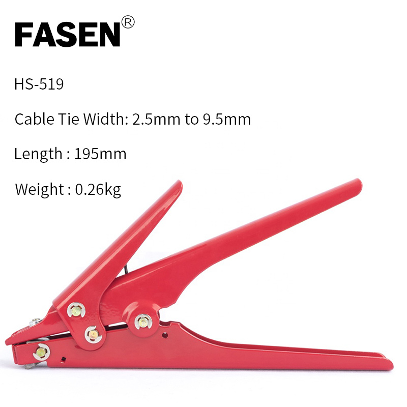 Red 2.4-<font><b>9</b></font> <font><b>mm</b></font> Cable Tie <font><b>Gun</b></font> Tensioning and Cutting Tool for Plastic Nylon Cable Tie plier or Fasteners circlipstang image