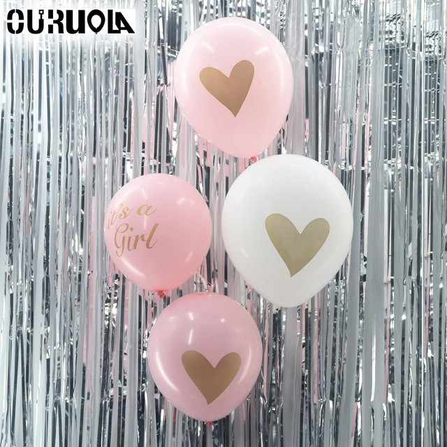 10pcs Lot Heart Balloons Black White Pink Golden Glitter Love Hen Happy Birthday 1st Babyshower Wedding Balloon