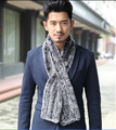 genuine real knitted rex rabbit fur winter men fur scarf handmade Black Gray  fur scarf