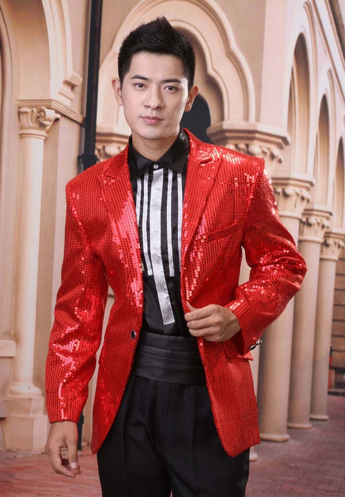 4fa24077d68bf Hot Sale 2019 Men's High grade Sequins Blazer Dress the host stage suit Men  performance studio clothing Suits / M XXXL-in Suits from Men's Clothing on  ...