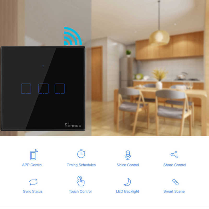 SONOFF T3 w usa/ue/wielkiej brytanii TX 1/2/3 Gang 433 RF Ewelink sterowania inteligentny Wifi dotykowy przełącznika światła na ścianie przełącznika podstawowe współpracuje z Alexa Google domu