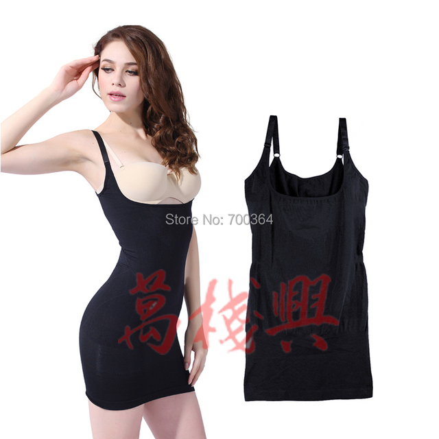 Las Slimming Open Bust Dress Seamless Body Shaper Control Full Slip Underbust A1862
