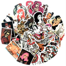Aliauto/50 Pcs Fashion Seksi Retro Poster Girl Street Art Graffiti Sticker Bar Laptop Sepeda Helm Koper Stiker(China)