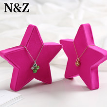 N&Z Pentagram Shape Necklace Pendant Display Stand Rose Red Fabric Jewelry Exhibitor Holder Shelf Board Jewelry Box W-42()