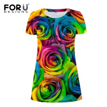 FORUDESIGNS 2017 Korean Style Women Wholesale Floral Beach Dress Sundress O-Neck Short Sleeve Rainbow Rose Midi T Shirt XL