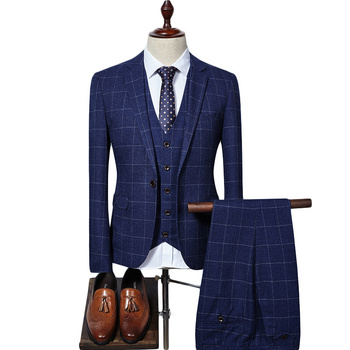 New Men Suit 2019 Slim Fit Mens Plaid Suits 3 Pieces Groom Wedding Suit High Quality Men's Suits Formal