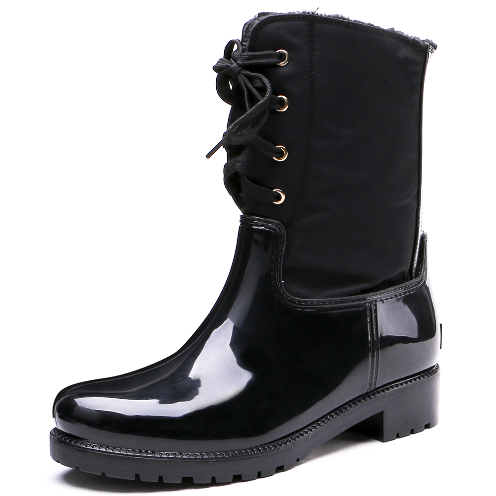 TONGPU Women's PVC Waterproof Rain Boots Ladies Lace-Up Casual Warmed Winter Boots 20-277