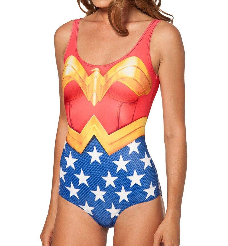 Nova menina sexy verão comic the avengers wonder woman 3d imprime sem mangas maiô de uma peça roupa de banho feminina mais
