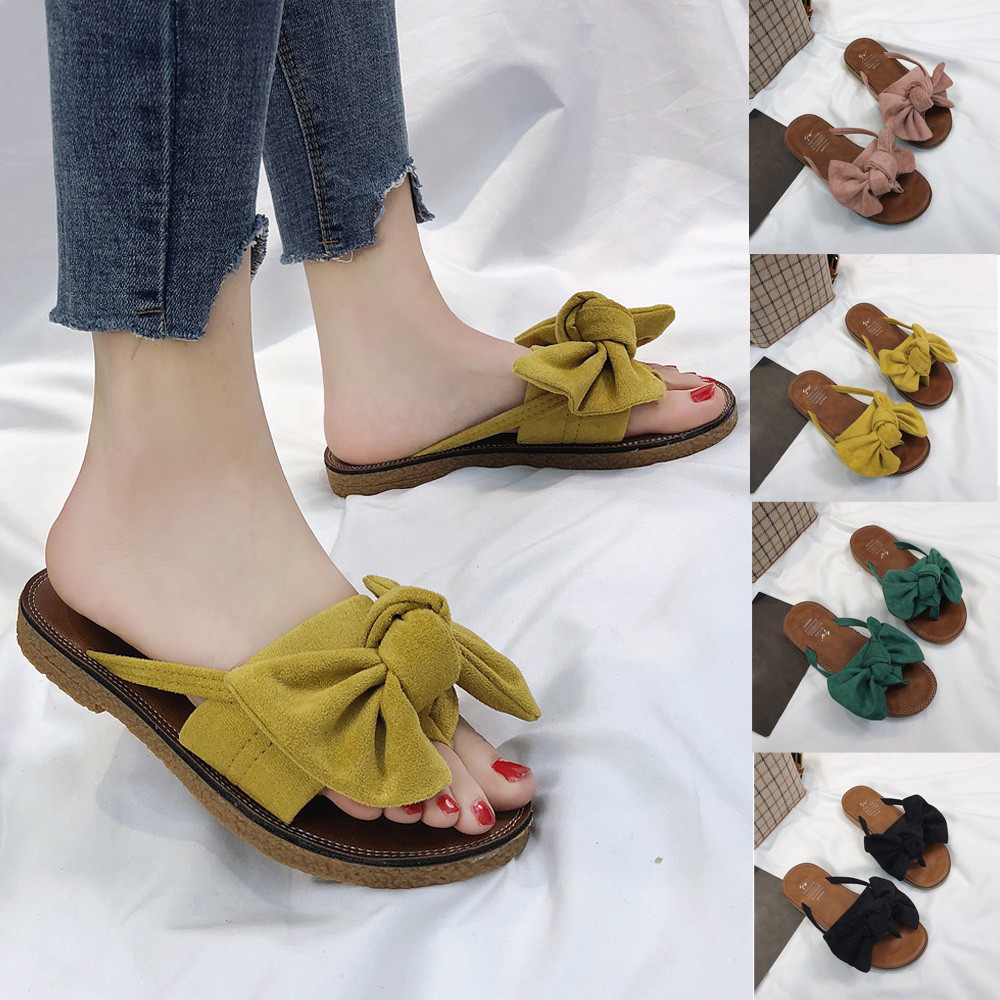 3cd650d0a18a9 2018 zapatos mujer chinelos de ver o feminina Women Fashion Solid Color Bow  tie Flat Heel Sandals Slipper Beach Shoes fashion  7