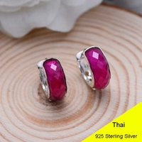 925 Sterling Silver Red Corundum Clip Earring Women Vintage Thai Silver Gift Brincos Aretes Jewelry CH038538
