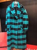 Осенне зимняя одежда из шерсти кашемировое пальто Для женщин Повседневное черный зеленый плед пальто Толщина теплый Тренч куртка