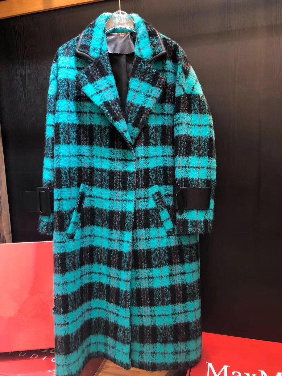 Épaisseur Veste Plaid Automne Casual Laine Cachemire Femmes Trench Noir Hiver Manteau Chaud Vert pFzq7R1z