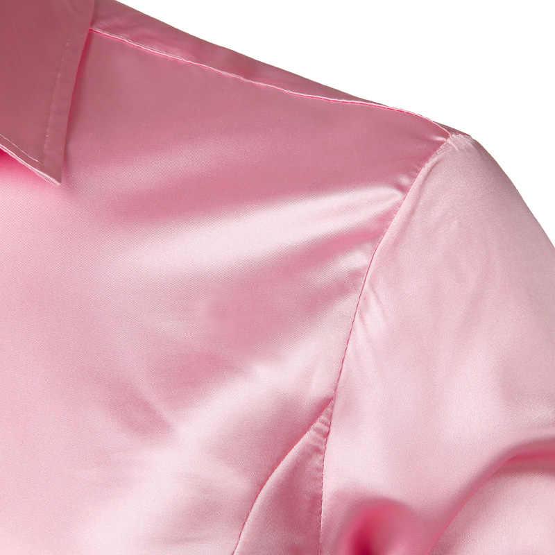 Rosa Seide Satin Luxus Kleid Shirt Männer 2018 Marke Neue Slim Langarm Smoking Hemd Männlich Hochzeit Club-Party Tanz prom Camisas