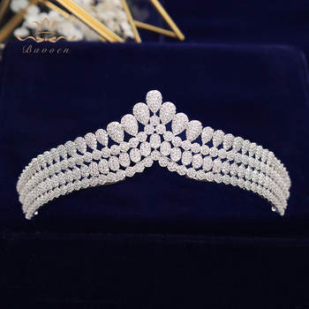 New Brides Simple Full Zircon Brides Tiaras Crowns Sparking Silver Bridal Hairbands Plated Crystal Wedding Hair Accessories