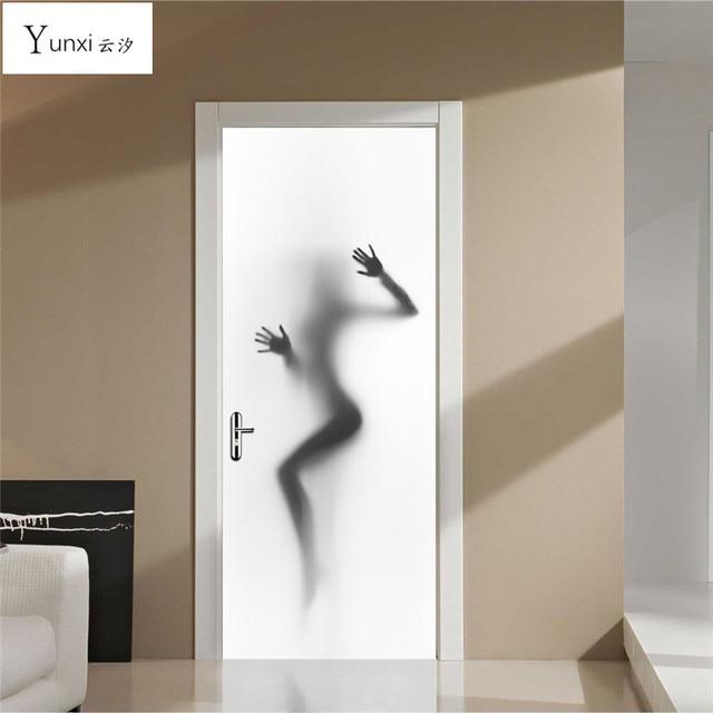 yunxi nieuwe 3d deur stickers mooie schaar deur stickers badkamer glas achtergrond decoratie pvc waterdicht muursticker