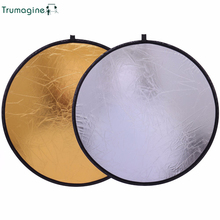 лучшая цена 110CM/43'' 2 in 1 Portable Collapsible Round Light Reflector Disc Photography Studio Reflector For Camera Gold Silver