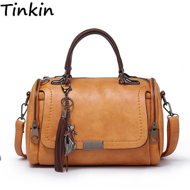 Tinkin Grande capacità di cuoio DELL'UNITÀ di elaborazione delle donne borsa a tracolla borsa da viaggio