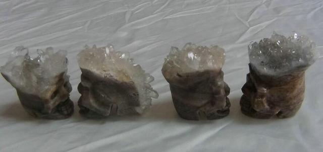 4 Natural Clear Quartz Crystal Carves skull Cluster Specimen