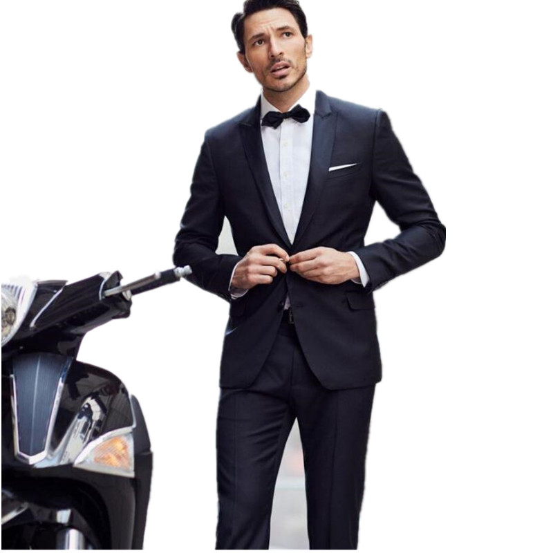 Wedding Suits For Men Navy Blue Leisure Prom Hot Sale Mens Morning Dress Gun Collar Custom Groom Suits 2017 Groomsmen Suit
